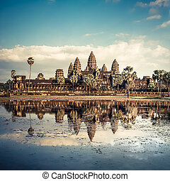wat angkor, temple., siem, récolter, cambodge