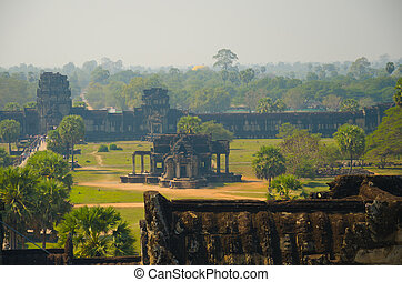 wat angkor, temple, siem, récolter, cambodia.