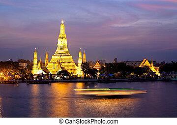 wat arun, in, rosa, solnedgång, skymning, bangkok, thailand