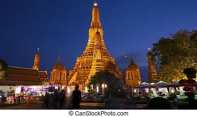 wat arun, tempel, in, thailand, timelapse, bewegung