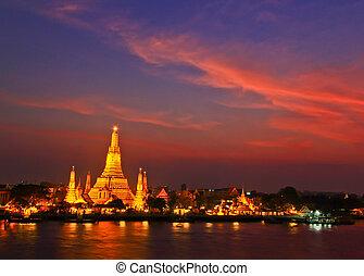 wat arun, temple, dans, bangkok, thaïlande
