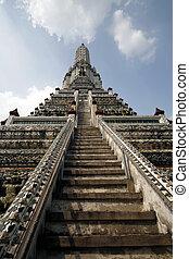Phra Prang pagoda at Wat Arun temple in Bangkok, Thailand