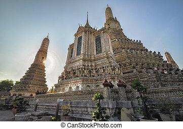wat arun, und, a, schöne , blauer himmel, in, bangkok, thailand
