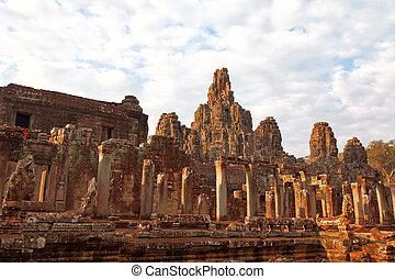 wat , bayon , καμπότζη , ηλιοβασίλεμα , αντικρύζω , κρόταφος , angkor