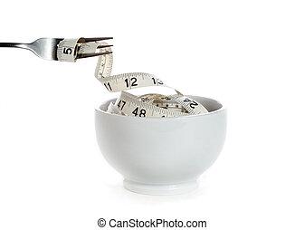 wat, bezeten, (dieting, concept, calorieën, u, eten