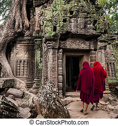 wat, bouddhiste, angkor, moines