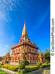 Wat chaiharam or Wat Chalong temple in Phuket asia thailand