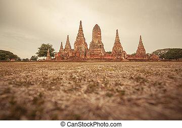 Wat Chaiwattanaram, the historical temple in Ayutthaya,...