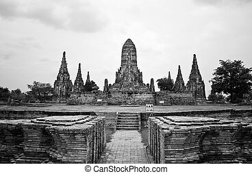 Wat Chaiwatthanaram Temple Black and White style. Ayutthaya...