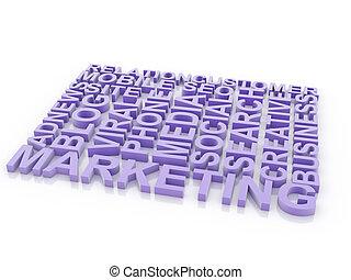 wat, concept, marketing., vrijstaand, achtergrond., woorden, witte , 3d