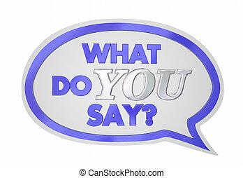 wat, illustratie, zeggen, toespraak, stem, mening, u, bel, 3d
