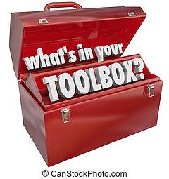 wat is, in, jouw, toolbox, rood, metalen werktuig, doosje,...