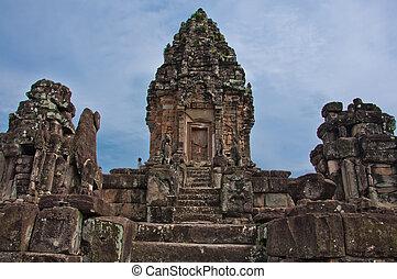 wat , khmer , αρχαίος , βουδιστής , bakong, cambodia., ...