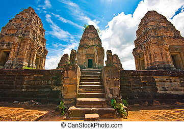 wat , khmer , αρχαίος , βουδιστής , mebon, cambodia., prasat...