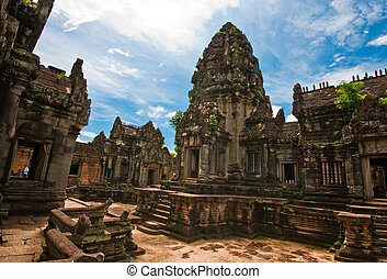 wat, khmer, banteay, budista, antiguo, camboya, samre,...