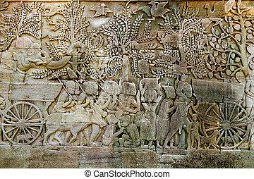 wat , khmer , bas , μόρφωση , ανακούφιση , άγαλμα , angkor...