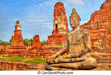 Wat Mahathat at Ayutthaya Historical Park, Thailand - Wat...