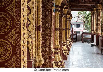 Wat Manorom - an ancient Buddhist temple in Luang Prabang Laos