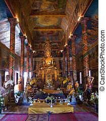 Wat Phnom in Cambodia - Interior and Buddha image in Wat...