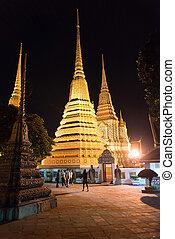 Wat Pho, Buddhist temple at night , Bangkok, Thailand.