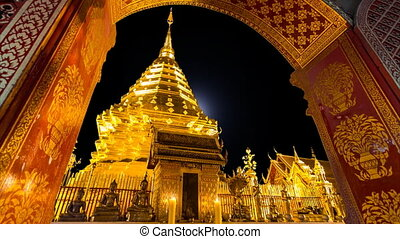 Wat Phra That Doi Suthep Temple And Full Moon Of Chiang Mai, Thailand (loop)