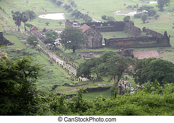 View from hill on the Wat Phu temple in Laos