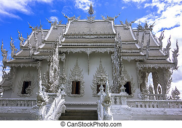 White Temple, Side View, contemporary unconventional Buddhist temple in Chiang Rai