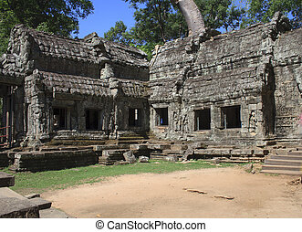 wat, ruines, cambodge, prohm, angkor, cette