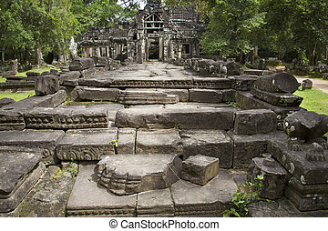 wat, starobylý, kambodža, štafle, čelo, chrám, angkor
