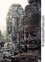 wat-, statues, unesco, city/ruin, bayon, récolter, cambodge, muré, thom, archéologique, siem, héritage, mondiale, gigantesque, figure, ruines, temple, angkor