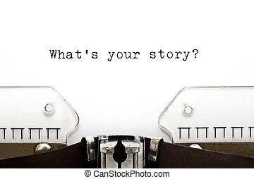 wat, typemachine, verhaal, jouw