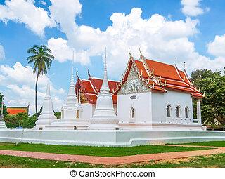 Wat Uposatharam, temple at Uthai Thani, Thailand on cloudy...