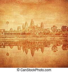 wat, vendimia, imagen, angkor, camboya