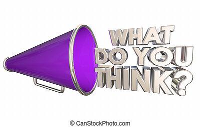 wat, vraag, illustratie, bullhorn, woorden, u, megafoon, denken, 3d