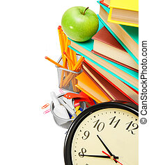 Watch, an apple, books and school accessories