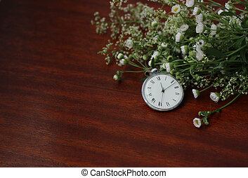 Watch and bouquet