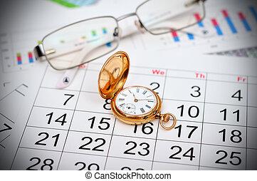 watch and calendar - antique gold pocket watch and calendar...