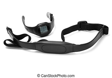 heart rate monitor - watch and chest strap of a heart rate...
