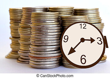 Watch and coins .Time is money .