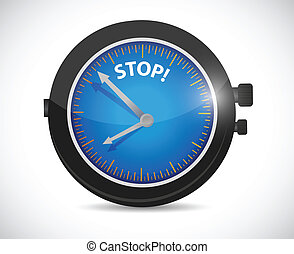 watch and stop sign illustration design