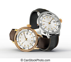 watch - pair watch isolated on a white background