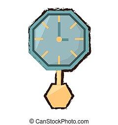 watch clock time pendulum color sketch vector illustration...
