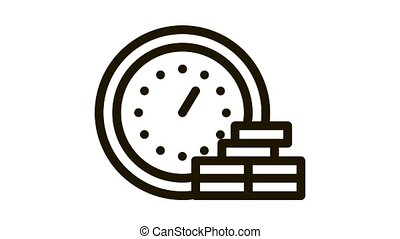 Watch Coin Heap Icon Animation. black Watch Coin Heap animated icon on white background