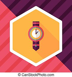 watch flat icon with long shadow,eps10