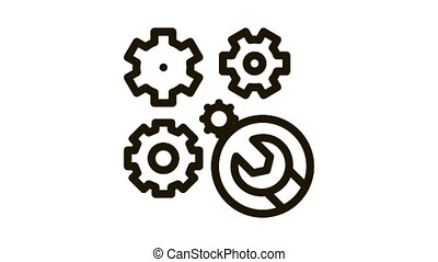 watch gears wrench Icon Animation. black watch gears wrench animated icon on white background