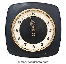watch., grunge, isolé, minutes, cinq, douze
