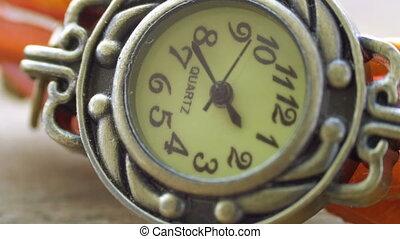 watch., haut, extrême, femme, fin, main, seconde, beau, cadran