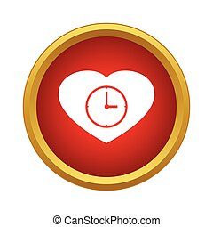 Watch heart icon, simple style