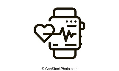 watch heartbeat Icon Animation. black watch heartbeat animated icon on white background