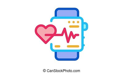 watch heartbeat Icon Animation. color watch heartbeat animated icon on white background